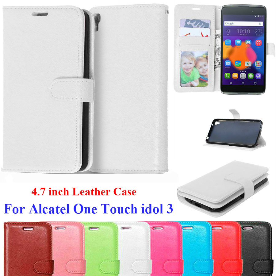 super popular 6a8f4 aab02 Luxury Leather Wallet Flip Cover Case For Alcatel One Touch Idol 3 4.7 Case  6039 6039Y Phone Bags Coque For Alcatel Idol 3 Case