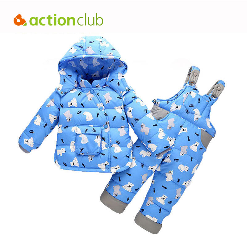 Actionclub Winter Down Jacket For Kids Animals Polar Bear Fish Parttern Hooded Outwear Baby Boys Girls Clothing Set With Pants уровень stanley 42 076 20 48 1220mm
