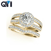 QYI 14K Solid Yellow Gold Halo Ring Sets Round Cut 1ct Sona Simulated Diamond Jewelry Split Band Engagement Women Wedding Ring
