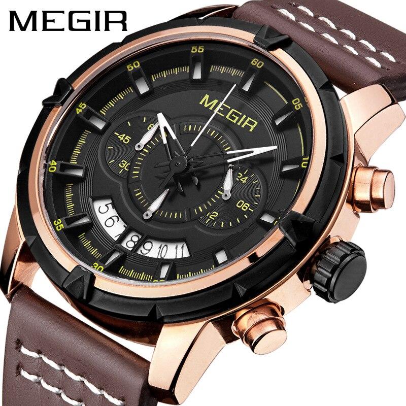 MEGIR Chronograph Mens Watches Top Luxury Brand Military Army Sport Clock Leather Band Date Quartz Men Male Wrist Watch Box 2047
