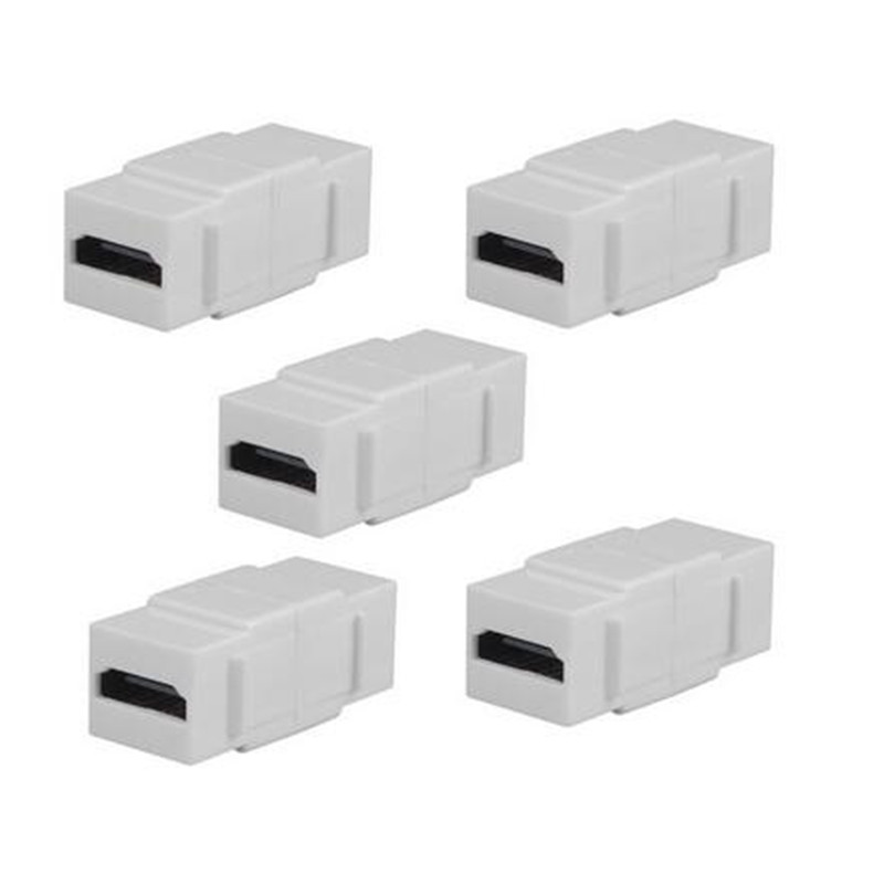 """5 Pack HDMI Keystone Wall Plate Insert Coupler Jack w// 6/"""" Pigtail Cable Black"""