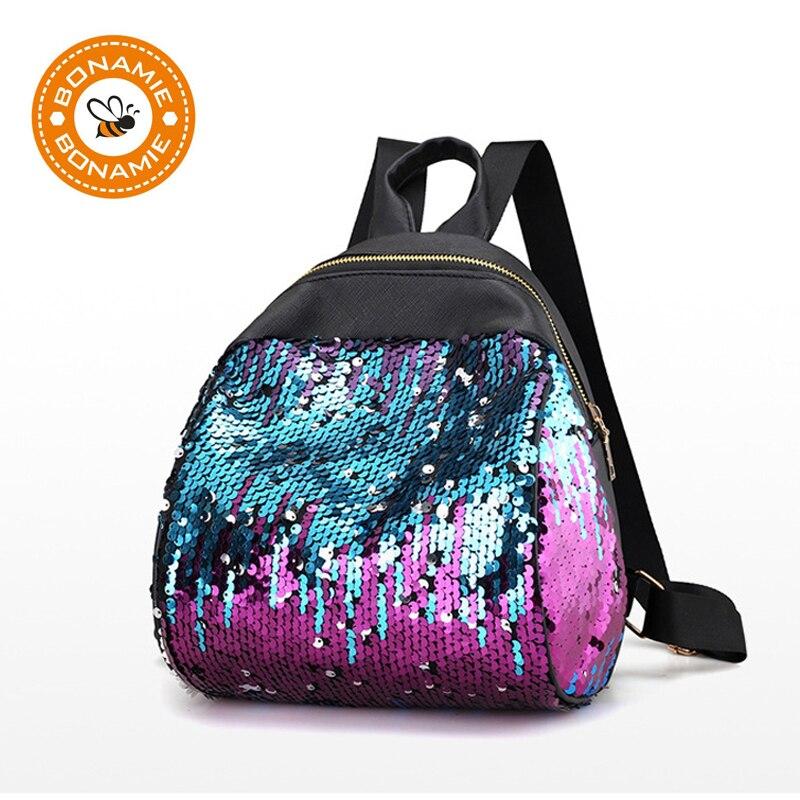BONAMIE Women Sequins Backpack BlingBling Preppy Chic Girls School Bags for Teenage Girls Mini Backpack Women Small Travel Bag