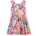 Los niños se visten 2016 Nuevo vestido de la muchacha niños ocasional del chaleco del vestido para chicas gato perro imprimir niñas bebés vestidos vestido de Los Niños ropa Formal