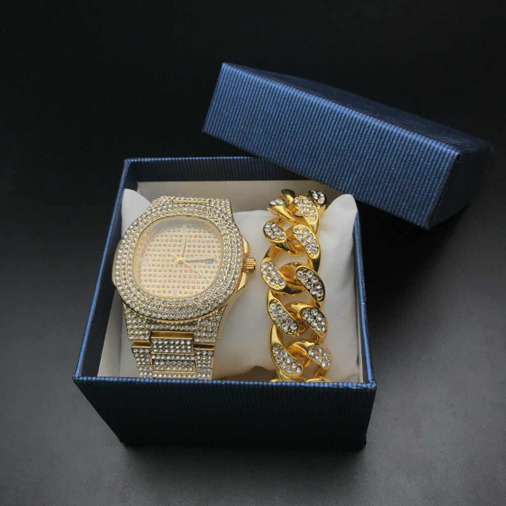 היפ הופ Mens שעונים + צמידי סט אופנה יהלומי אייס מתוך קובני שרשרת זהב כסף יוקרה שעון סט עם קופסא 2019