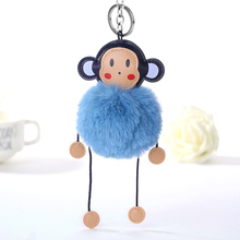 Creative Fur PomPom Keychain Monkey Key Chain Pompom Fur Key Holder Cover Women Bag Charm Pendant Accessorie Christmas Gift pompom