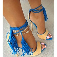 Women Chic Fuchsia Suede Fringe Sandals Concise Ultra High Heels Lace-up Tassel Shoes Rose Red Yellow Cross Tied Dress Pumps ultra chic блузка