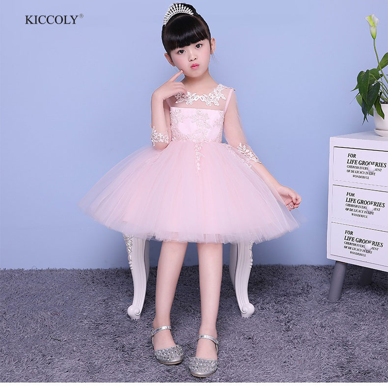 KICCOLY 2018 Girls Dress Perspective lace Children Wedding Party Dresses Kids Evening Ball Gowns Formal Baby Frocks Clothes 2-12 the window office paper sticker pervious to light do not transparent bathroom window shading white frosted glass tint