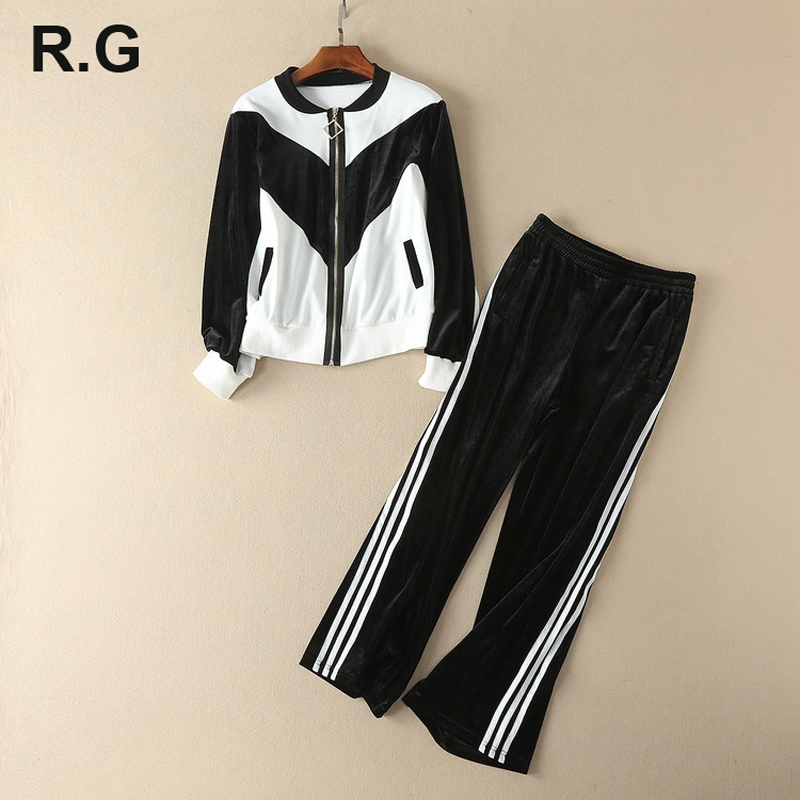 RG Casual Velvet Tracksuit for Women Outdoor Loose Style Color Block Jacket Long Pants Woman Casaul Tracksuit 2 Piece Set 2018