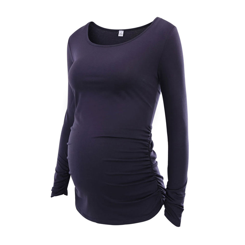 c299995a Maternity Clothes Cotton Long Sleeve Tops Blouse Pregnancy T-shirt 2018 Mama  Clothes Flattering Side Ruching Scoop Neck Shirt