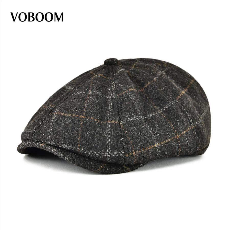 5c9db2fb8d9 VOBOOM Winter Warm Woolen Men Women Ivy Flat Cap Autumn Berets 8 Panel  Design Newsboy Cabbie
