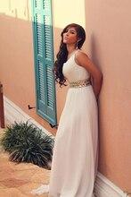 Schulter prom kleider 2016 vestidos para formatura weiß chiffon-eine line bodenlangen abend dress mit kristallen
