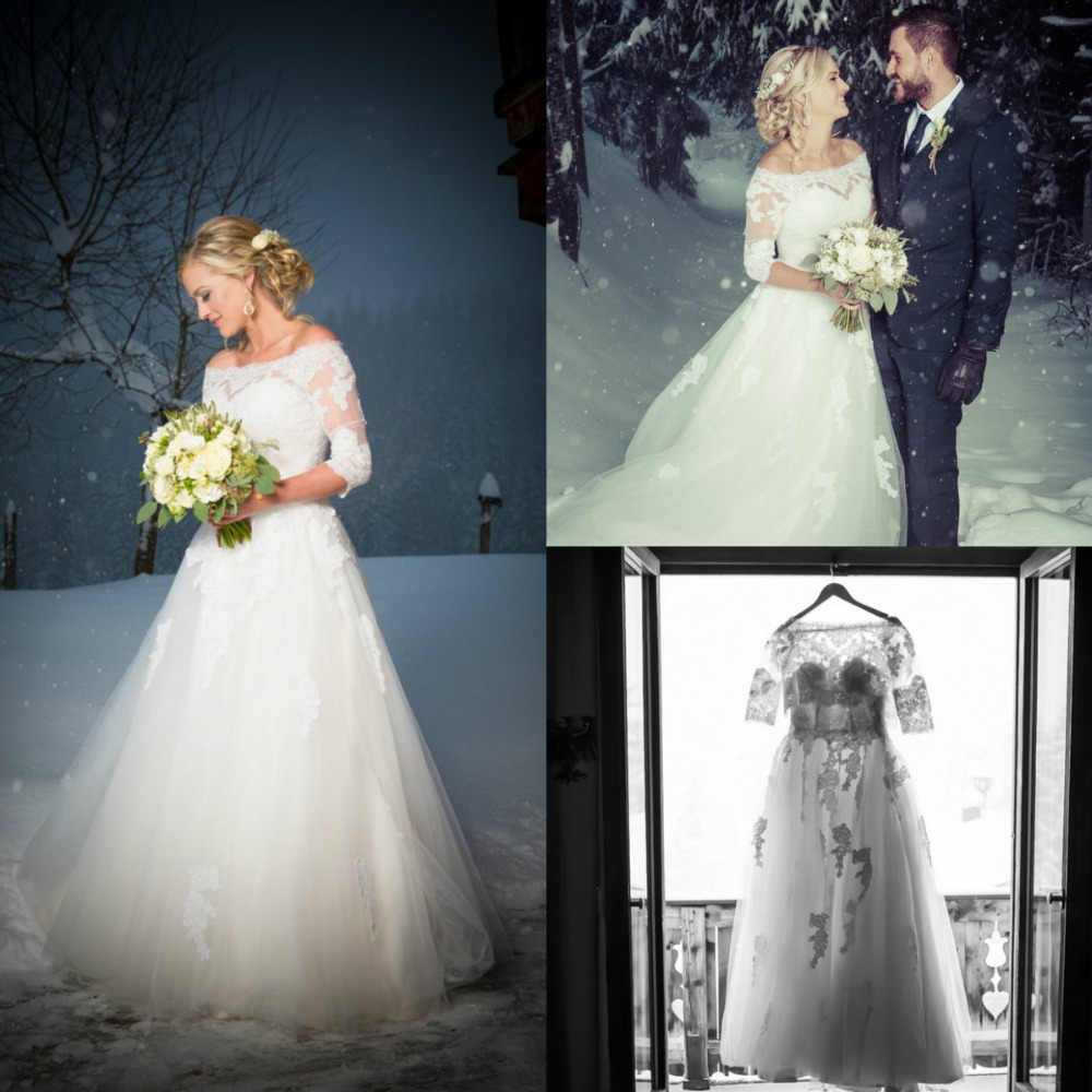 2016 Winter Snow Wedding Dresses With Sleeves Off Shoulder