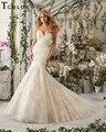 Tcmldr 2017 New Arrivals Romantic Long Line Strapless Mermaid Wedding Dresses Luxurious Appliques Chapel Train Vestido De Noiva