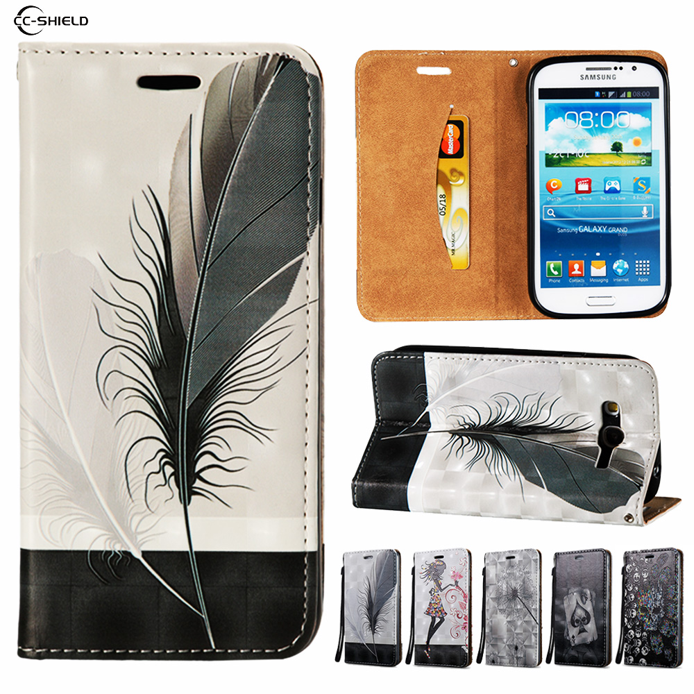 Filp Case for Samsung Galaxy Grand Duos I9082 I9060 GT-i9082 GT-i9060 GT-i9060i Wallet Leather Case Stand Card Hold Phone Cover