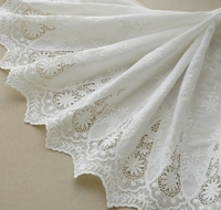 Bilateral Symmetry White 100 Cotton Openwork Embroidery Lace Fabric Skin Friendly Soft Summer Dress Lace Fabric