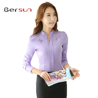 2017 The New Korean Style Autumn Winter Office Long Sleeve Plus Size Ladies Chiffon Shirt Red