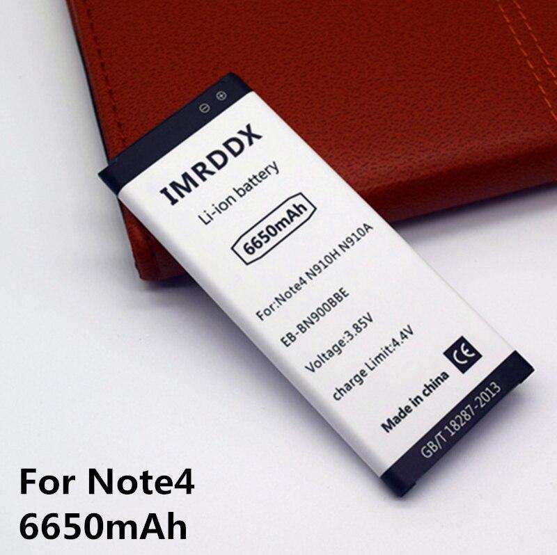 IMRDDX 6650 mAh Batteria Per Samsung Note 4 Batteria EB-BN910BBE N910H N910A N910X N910V N910C N910U N910F N910T N910R Note4 pastella