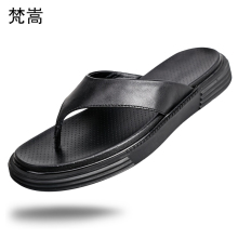 Flip-flops Mens Fashion real Leather Slippers Thick-soled Beach Shoes Sandals Men fender summer men genuine leather slippers