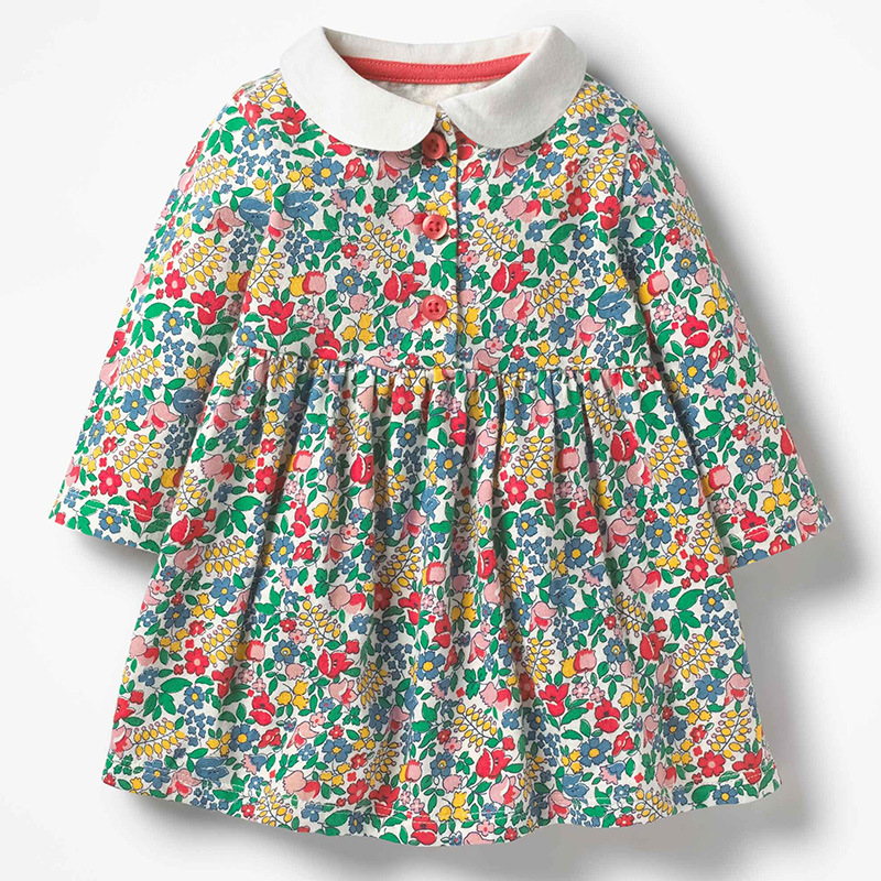 Маленькое осеннее платье maven для маленьких девочек 2-7 лет, новинка, детское красивое платье принцессы с длинным рукавом и цветочным принтом ...