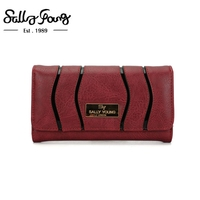 2017 Sally Young International Brand Women Wallet Long Purse Lines Solid Color Metal Logo Wallet 5