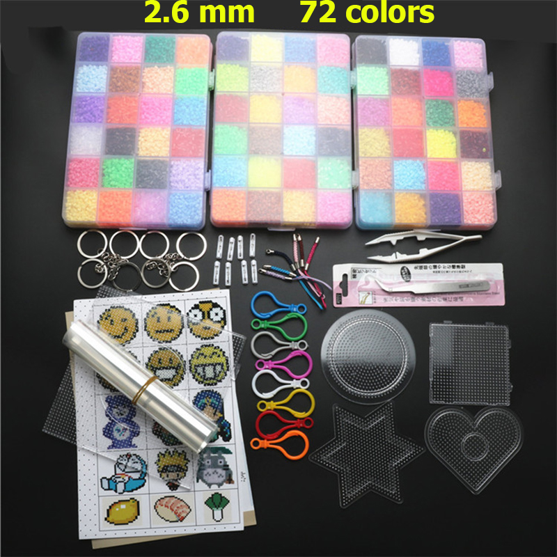 72 Colors 39000pcs  2.6mm Hama Beads Set Toy DIY Perler Beads Pegboard Kit Educational Tangram Puzzle Kids Toys Template