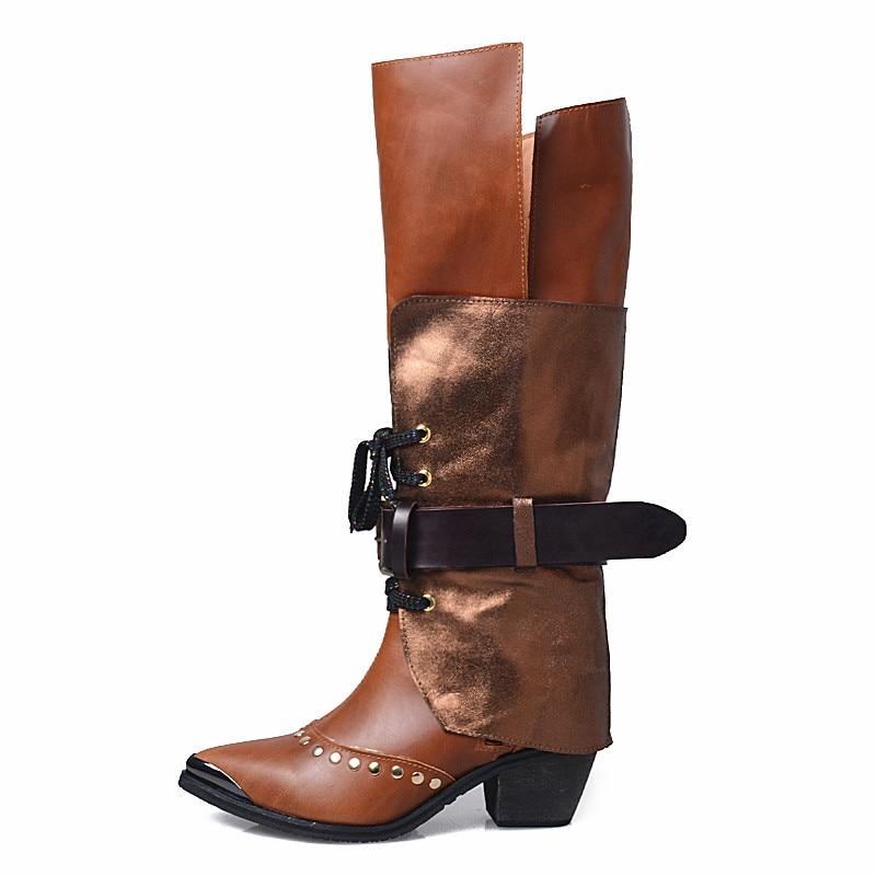 En Supérieure forme Hiver Sexy Genou Wool Chaussures Et Style Du dessus leather Plate Leather La Western Haute Couche Nouvelle Cuir Bottes Sauvage add Lining Au Wool Le IwqRtv5