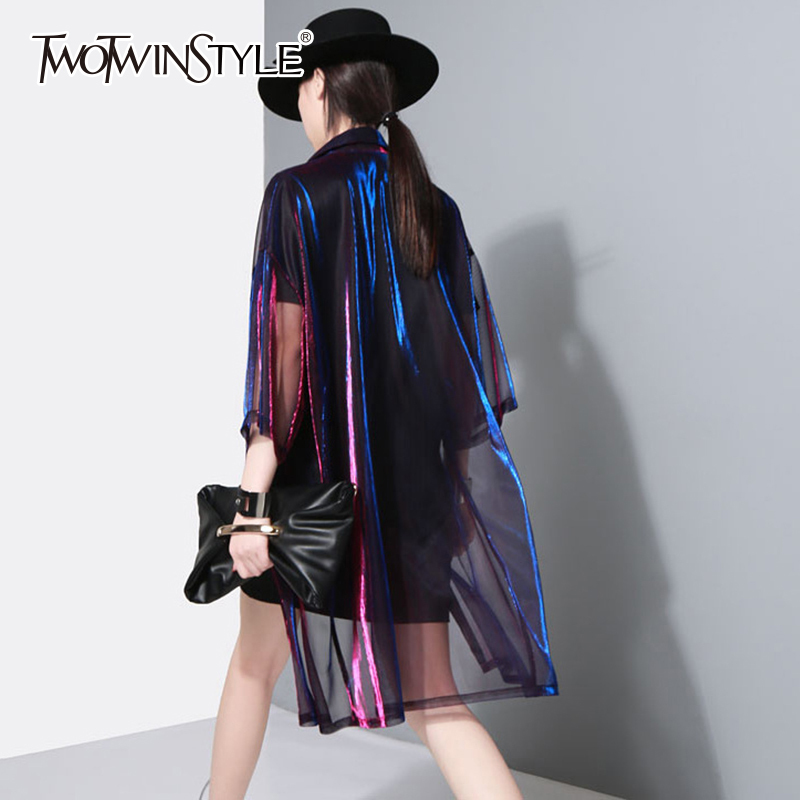 TWOTWINSTYLE Transparent Trench Coat For Women Laser Lapel Collar Three Quarter Sleeve Long Windbreaker 2020 Spring Summer Tide