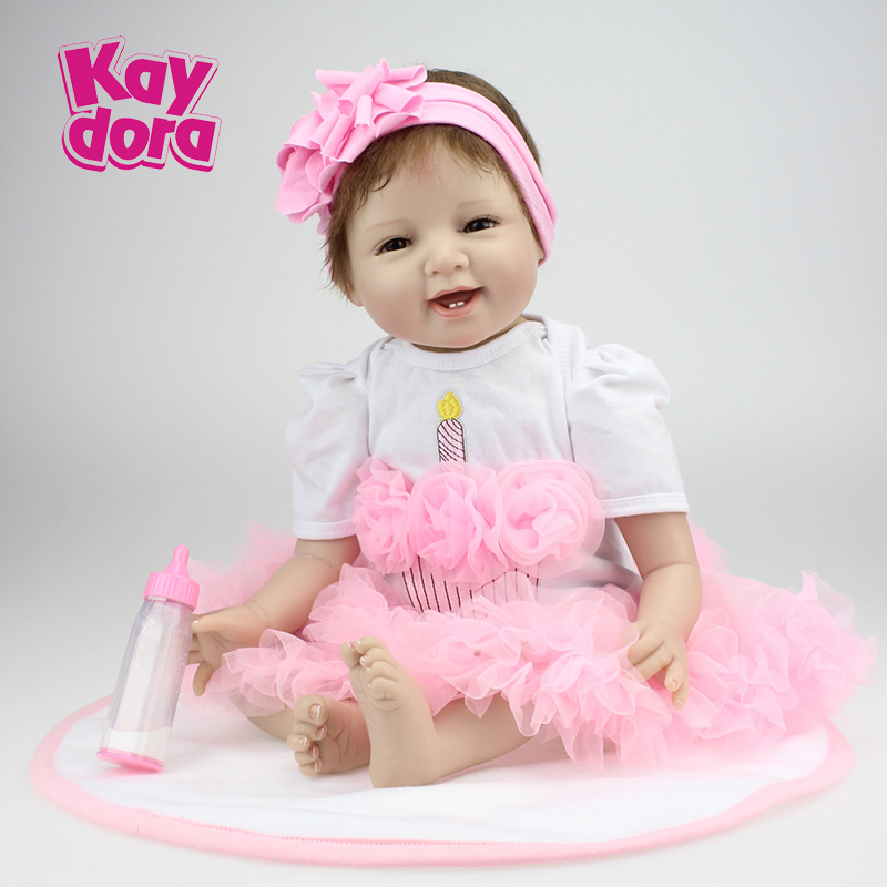 KAYDORA Reborn Baby Doll 22inches 55cm Silicone Babies Mohair Kawaii Dolls Brands Toys Gift for Children brinquedos Dress kawaii baby dolls