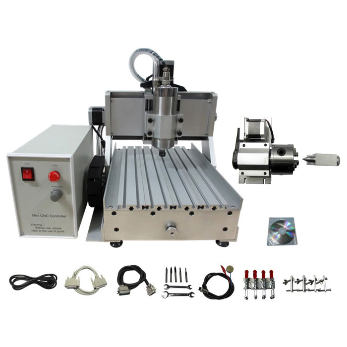 1.5KW 3020 CNC Router 4 Axis DIY CNC Engraving Cutting Machine Mach3 Control Box With Water Cooled Spindle