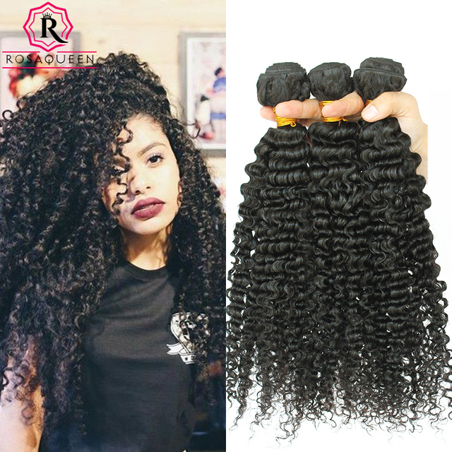 Deep Wave Brazilian Hair 3B 3C Kinky Curly Virgin Hair Mink Brazilian Hair Bundles Natural Curly Weaves Rosa Queen Hair Products