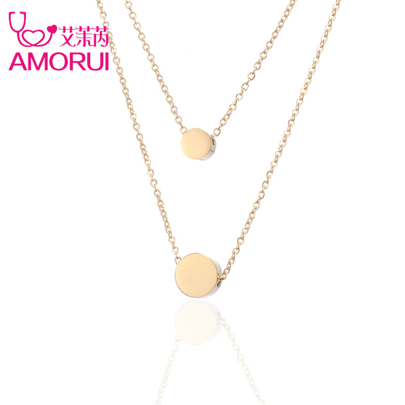 Women Rose Gold/Gold/Silver Circle Round Bean Ball Double Chain Statement Choker Necklace Jewelry Collares Disc Necklaces