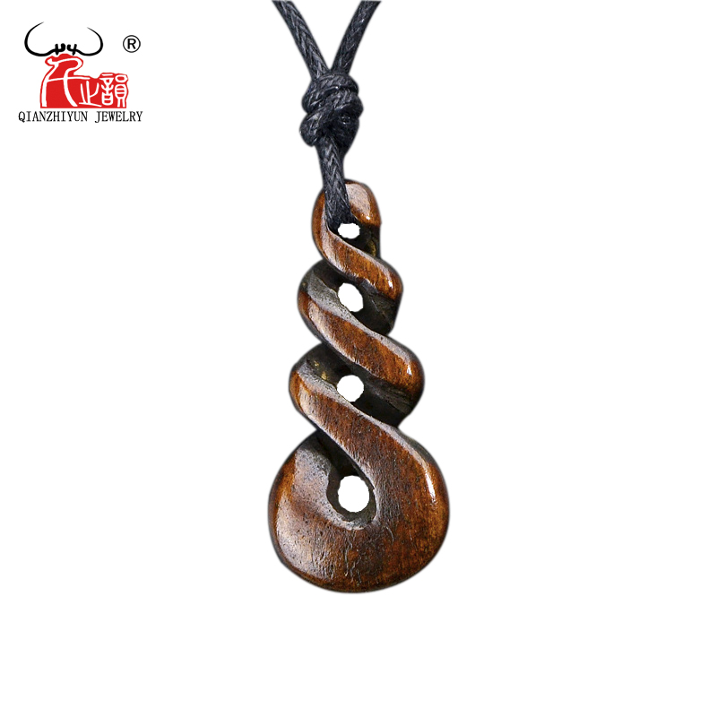 1PC Hot Sale New Zealand Maori Handmade Carved Bone Necklace Infinity Twisted Pendant WoMens Mens Hawaii Surfer Style Choker