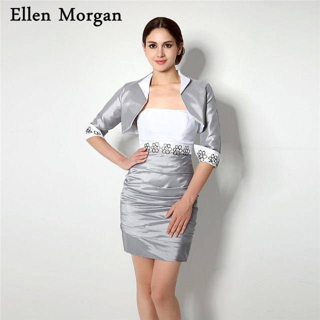 Silver Short Mother of the Bride Groom Dresses for Wedding Party ...