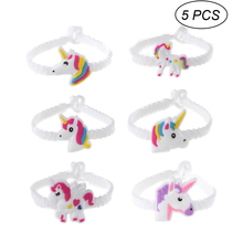 Pixnor 5pcs Set Random Styles Unicorn Silicone Wristbands