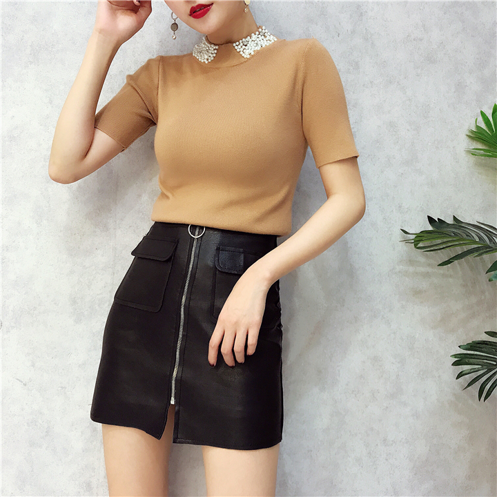 ALPHALMODA 18 Summer Ladies Short-sleeved Pearl Collar Pullovers Casual Slim Knit Sweater Women Studded Fashion Jumpers 24