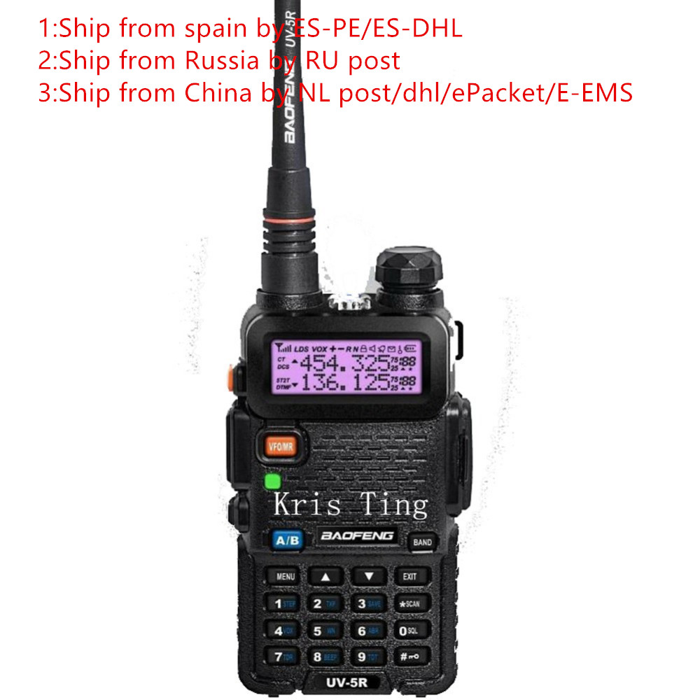 2 pcs 2016 New BLACK BaoFeng UV-5R WalkieTalkie 136-174/400-520 Mhz VHF/UHF DUAL-BAND Two Way Radio