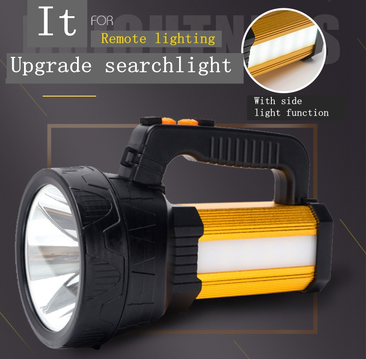2018 New 120W Portable light rechargeable led spotlights camping lantern searchlight hand held spotlight lamp with side light
