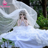 UCanaan 60CM Bride Girl Doll With Wedding Dress Princess BJD Dolls 18 Ball Jointed Doll With Outfit Beauty Toys For Collection