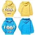 2015 ropa de bebé despicable me Minion 2 Con Capucha t shirt kids Otoño Primavera Tops y Camisetas 2-8Y de Amarillo y Azul