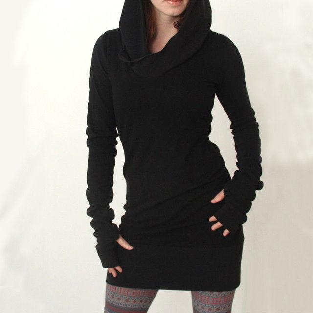 Fashion Women Hoodies Long Sleeve Warm Hoodded Black Hoody Pullover