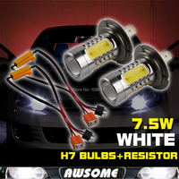 2x White 7 5W H7 COB CREE LED Bulbs DRL Fog Headlight Driving Light Lamp Load