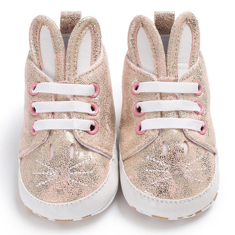 Cute Baby Girl Boy Soft Rabbit Ear Sole Anti-Slip Crib Toddler Pram Shoes First Walkers Prewalker