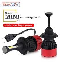 BraveWay Led H7 мини лампы Малый Размеры автомобиля лампы Светодиодные H4 H7 H11 9005/HB3 9006/HB4 светодиодные лампы 12 V 8000LM 6500 K