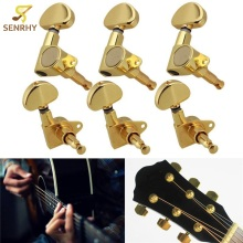 1Set Gold Guitar Machine Heads Tuners 3R3L Semicircle Button Guitar String Tuning Peg Electric Acoustic Guitar Parts Accessories