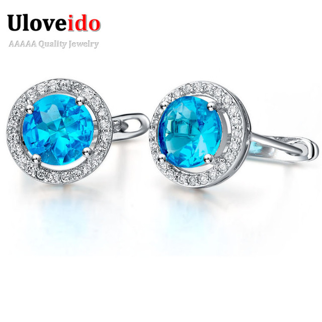 Elegant Large Pageant Earrings For Women Crystal Silver Earings Charms Jewelry Round Blue Zircon Chirstmas Gift
