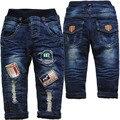 3965 отверстия теплый толстый flecce и джинсы зимние брюки детские брюки темно-синий двухэтажные детские дети дети зимние брюки
