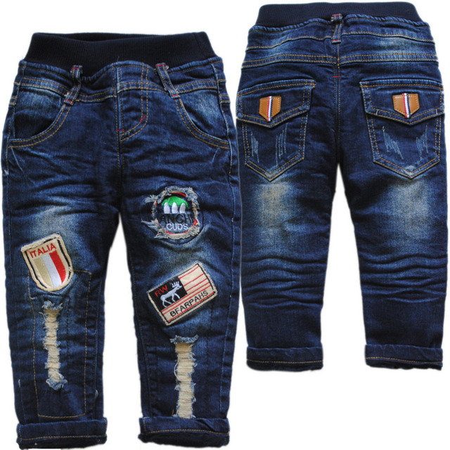 3965 hole warm thick flecce and denim jeans winter pants baby trousers navy blue Double-deck baby kids children's winter pants