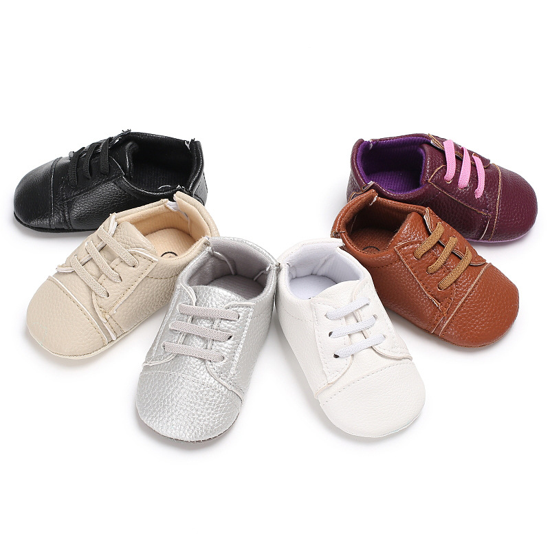 New arrival 6 colors Baby Shoes Baby Boys girls Rubber sole PU Leather shoes Crib Anti-slip First Walkers Sneakers shoes