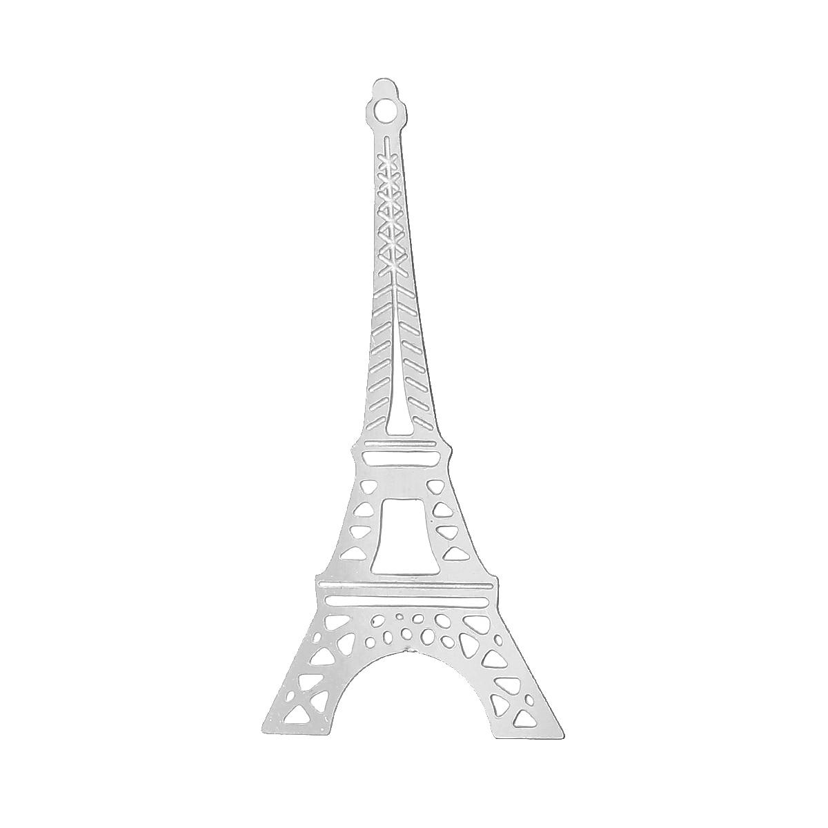 10 torre eiffel-conector de color plateado