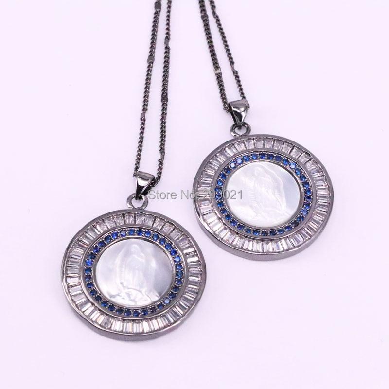 5 pièces nouveau Design de mode forme ronde Micro Pave cristal zircone naturel coquille jésus pendentif collier bijoux-in Pendentifs de collier from Bijoux et Accessoires    1